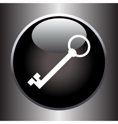 Key icon on black button vector