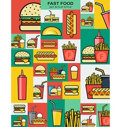 Set of retro icons with fast food burgers vector