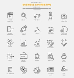Line icons set business marketing vector
