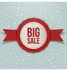Realistic christmas big sale red label with ribbon vector