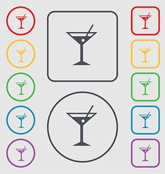 Cocktail martini alcohol drink icon sign symbol on vector