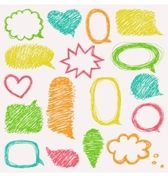 Set of hand drawn speech and thought bubbles vector