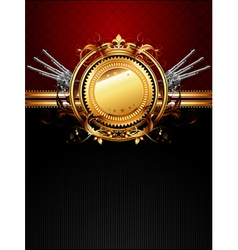 ornate frame with guns vector image