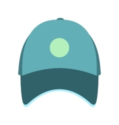 Blue baseball hat flat icon vector