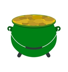 Green pot full of gold coins icon vector