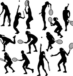 Silhouettes of the women who play tennis vector