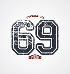 Varsity number garment theme vector