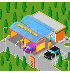 Isometric gas station with cars and people vector