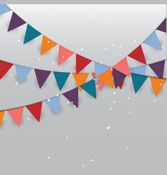 Background of colored party flags and confetti vector