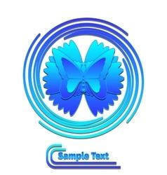 Blue butterfly in swirl logo vector image