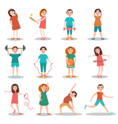 Children doing sports flat vector