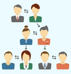 Communication process with avatars isolated on vector