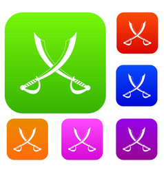 crossed sabers set color collection vector image vector image