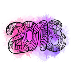 doodle year 2018 with boho pattern and watercolor vector image vector image