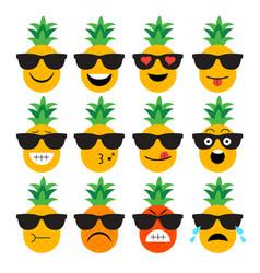 Emojis pineapple fruit summer set of emotional vector