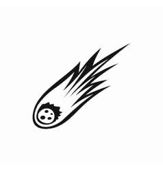Falling meteor with long tail icon simple style vector