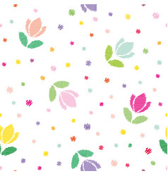 Floral seamless pattern background embroidery vector