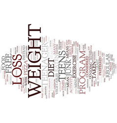Free weight loss for teens text background word vector
