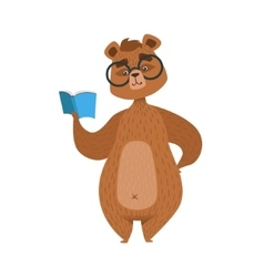 Girly cartoon brown bear character in glasses vector