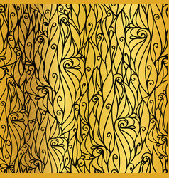 Gold and black abstract scrolls swirls vector