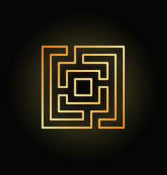 gold square maze or labyrinth icon vector image vector image