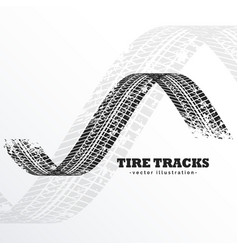 Grunge black tire tracks on white background vector