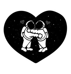 hand drawn astronaut couple hugging in the space w vector image