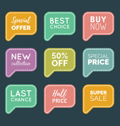 hand drawn set of speech bubbles with sale vector image vector image