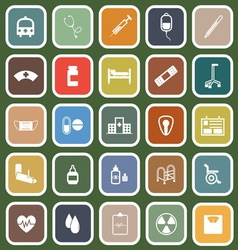 Hospital flat icons on green background vector image vector image