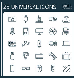 Icons set collection of cctv wireless router vector