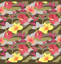 military seamless pattern with tropical flowers vector image vector image