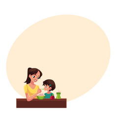 Mother spoon feeding her little daughter sitting vector