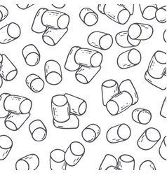 Outline seamless pattern with marshmallow vector