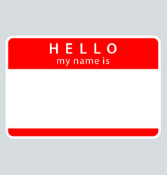 Red name tag my name is vector