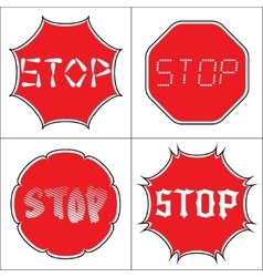 Set a stop sign vector image