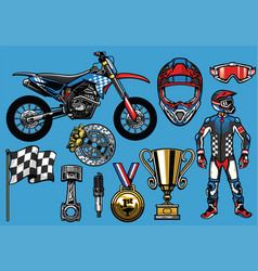 supermoto concept set elements vector image vector image