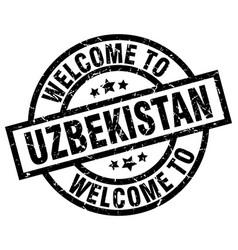 Welcome to uzbekistan black stamp vector