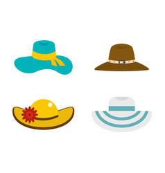 woman hat icon set flat style vector image