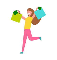woman rerning from shopping vector image