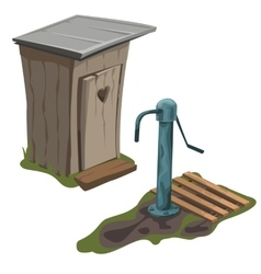 Wooden toilet and water pump isolated vector