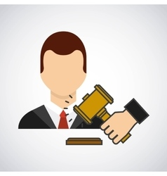 Lawyer avatar with gavel vector