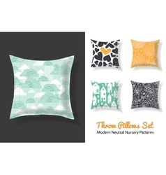 Set of throw pillows with matching unique neutral vector