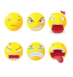 yellow head face cartoon emotion vector image