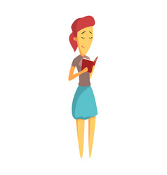 Cute young woman standing and reading book vector