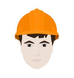 Working man in orange hard hat vector
