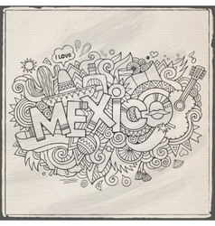 Mexico hand lettering and doodles elements vector
