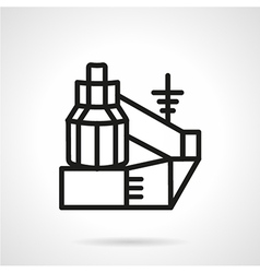 Black line power station icon vector