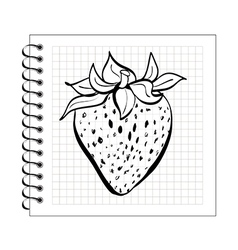 Doodle strawberry on spiral notepad paper vector