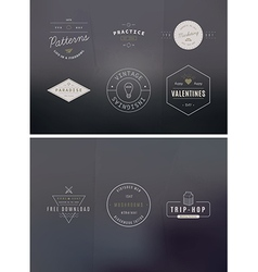 Trendy retro vintage insignias bundle volume vector