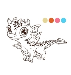 Cute cartoon flying baby dragon vector